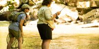 women fly fishing ohiopyle