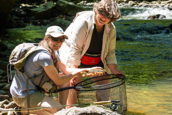 women fly fishing ohiopyle brown trout