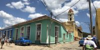 Walking to a people-to-people meeting in trinidad cuba
