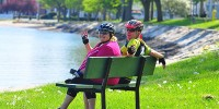 Chesapeake bike tour bench relaxing