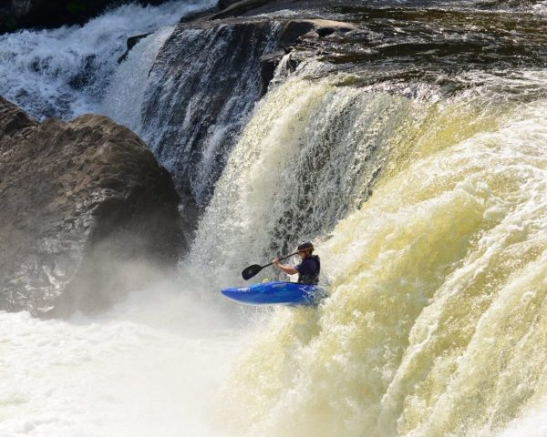Ohiopyle Kayaker runs waterfall