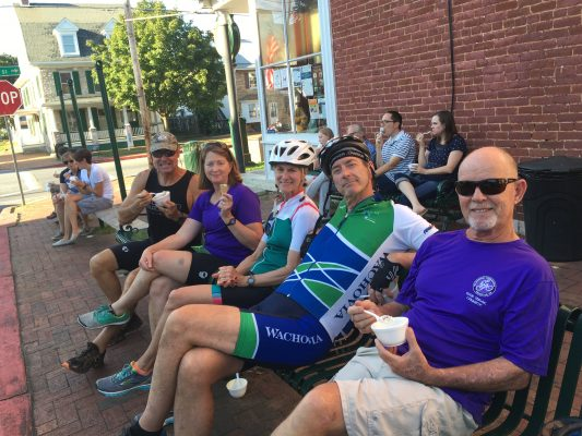Cyclists Biking the 6 Day Pittsburgh to D.C Bike Tour with Wilderness Voyageurs stop for a quick snack